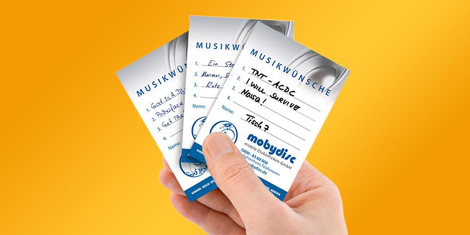 Musikwunschkarten der Firma mobydisc
