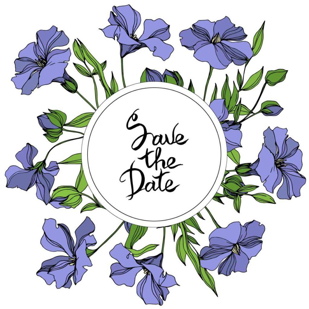 Einladungskarte für eine Hochzeit. Save the date