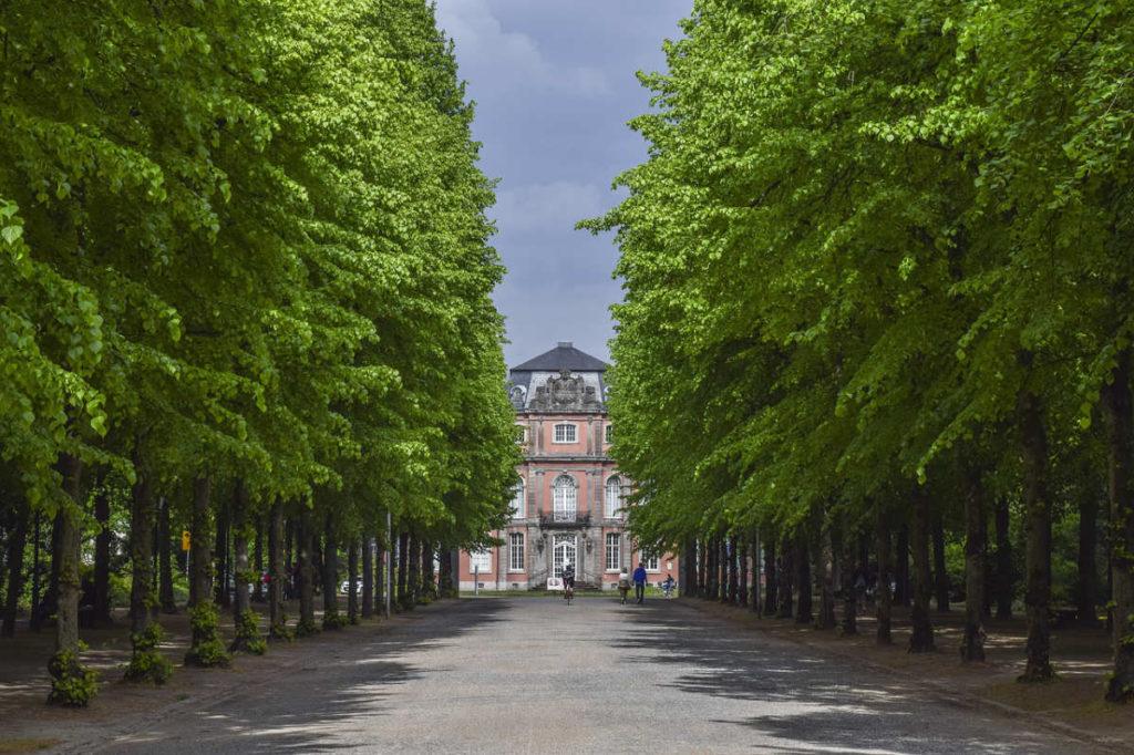Alle mit Bäumen zum Schlosss Benrath. Hier kann man in Düsseldorf heiraten