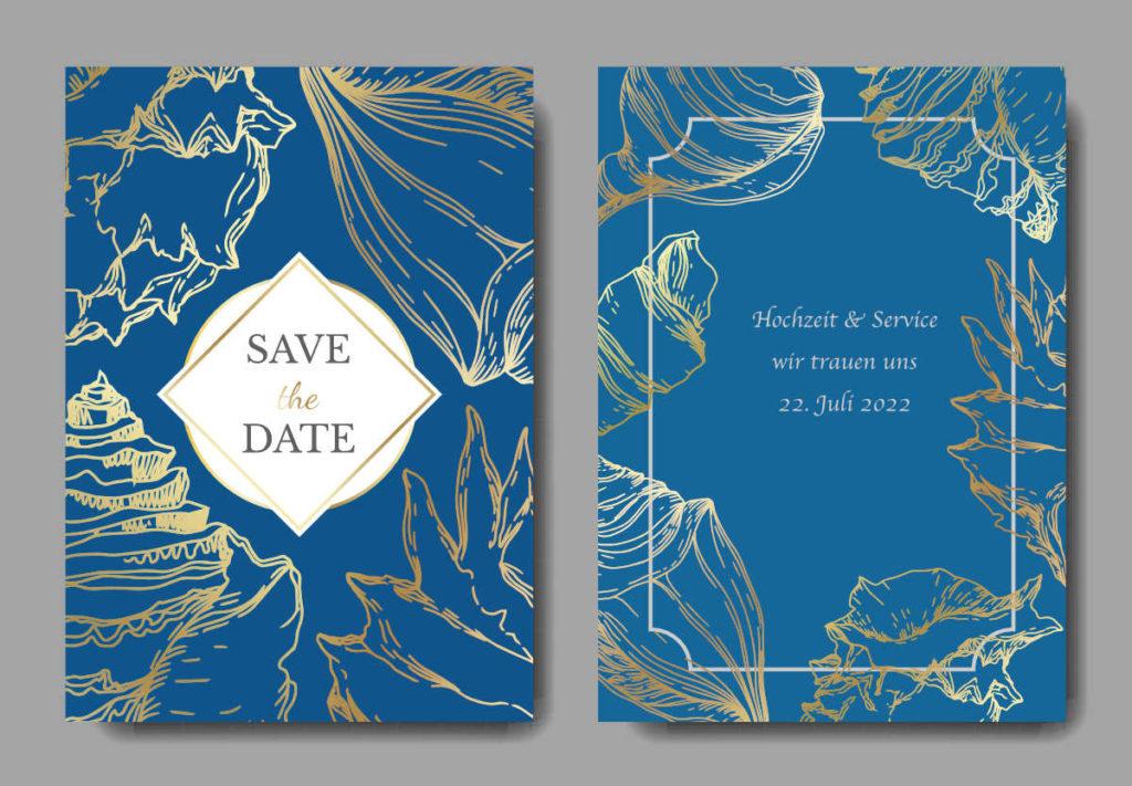 Vorlage einer Save The Date Karte passend zum Thema Maritime Hochzeitsdeko