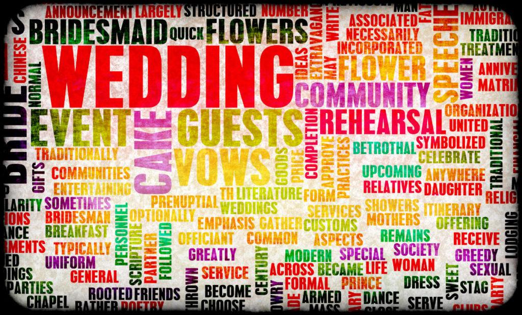 Alle Begriffe die einem zu einer Hochzeit einfallen und auf die Checkliste Hochzeit gehören
