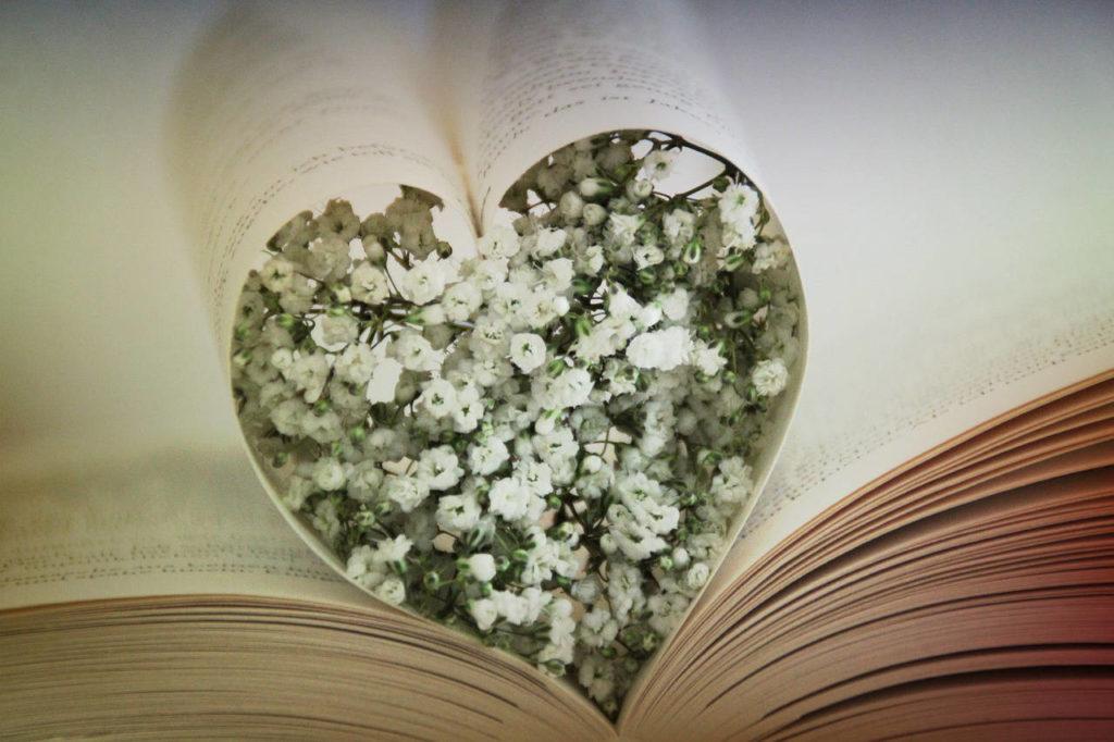 Zwei Blätter in einem aufgeschlagenen Buch sind in Herzform gefaltet und mit Schleierkraut gefüllt. Das Bild passt zum Thema Papierhochzeit.